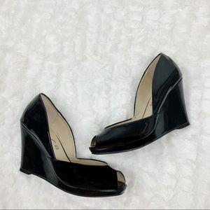 Unisa Madison black peep toe wedges
